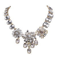 Statement Jewelry with Luxury Crystal Floral Dazzling Necklace