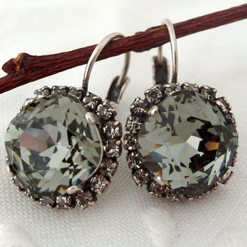 Smokey Grey black diamond Swarovski crystal drop earrings, Bridesmaid gifts, Oxidized Silver earrings,Crystal earrings, Swarovski earrings