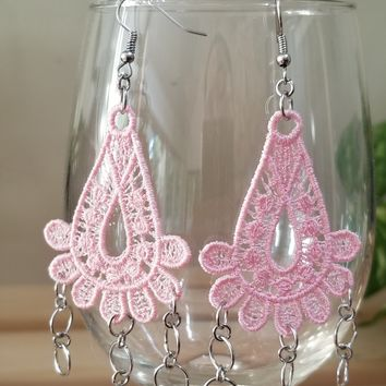 Pink Embroidery Link Earrings