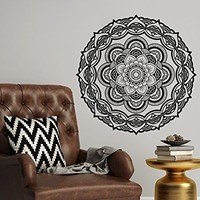 Wall Decal Mandala Vinyl Sticker Decals Lotus Flower Namaste Home Decor Boho Bohemian Bedroom Ornament Moroccan Pattern Yoga Studio NV9 (22x22)