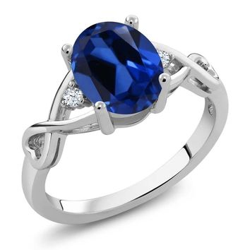 2.39 Ct Oval Blue Simulated Sapphire 925 Sterling Silver Women's Ring
