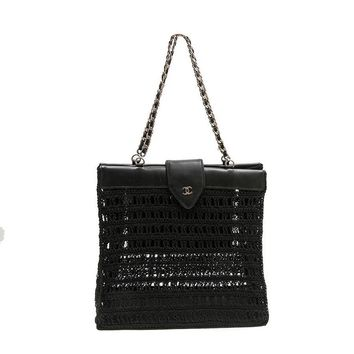 CHANEL Bag in Black Leather and Crochet