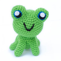 Frog Stuffed Animal... Custom Made... Cute Crochet Frog