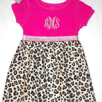 Leopard Print Monogram dress, girls dress, glitter dress, glitter monogram dress, special occasion dress, glitter monogram, toddler clothes