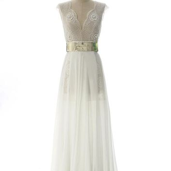 In Stock Luxury High Slit Beaded Evening Dresses Gold Belt Wedding Prom Dresses Chiffon Julie Vino Vestidos De Noche