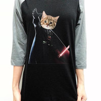 Cat Vader Shirt Clothing Darth Vader Star wars T-Shirt Unisex Raglan Black 3/4 Baseball Shirt Long Sleeve