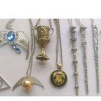 9 Pcs Harry Potter Charms Necklaces Collectible Wands Golden Snitch Deathly Hallows