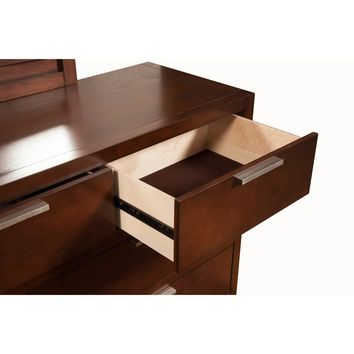 7 Drawer Sleek Dresser In Mahogany Wood