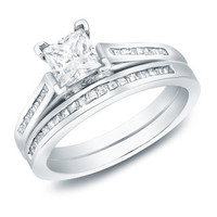 14k Gold 1 1/2ct TDW Certified Princess Diamond Bridal Ring Set (H-I, SI1-SI2) | Overstock.com