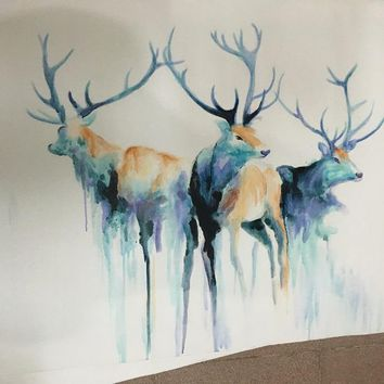 Abstract painting watercolor blue classic horse deer goat wall art decoration hand painted oil painting canvas living room decor