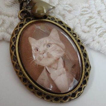 1- Male Cat Portrait Necklace Sepia Kitten in Suit Pendant with Brass Heart Charm Mr Cat Portrait