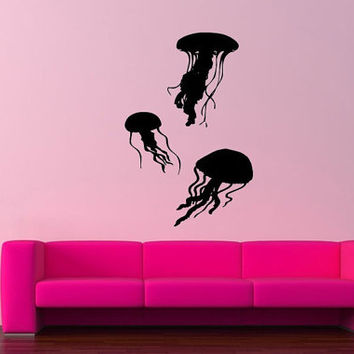 Wall Decor Vinyl Sticker Room Decal Art 3 Swimming Jellyfishes Ocean Sea Theme 794