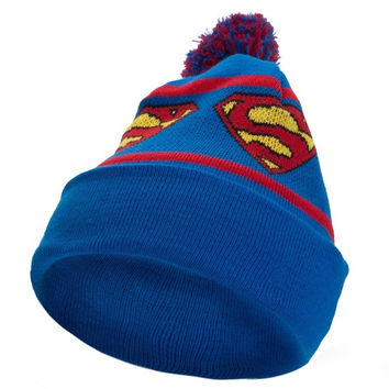 Superman - Repeat Logo Pom Pom Knit Hat - Blue (Color: Blue) = 1946856964