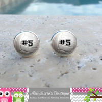Volleyball Earrings, Volleyball Jewelry, Volleyball Accessories, Personalized Volleyball,Gifts for Her, Gifts under 10