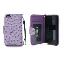 TORU Ostrich Fashion Wallet Case for iPhone 4/4S - Purple