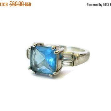 Easter Sale Blue Topaz Ring, Sterling Silver, Designer Signed, Danecraft, Vintage, Sz 7, Gemstone