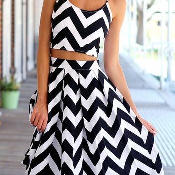 Black and White Wave Print Co-ord