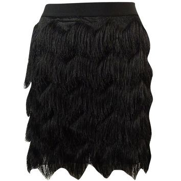 Studio M Women's Chevron Fringed Mini-Skirt