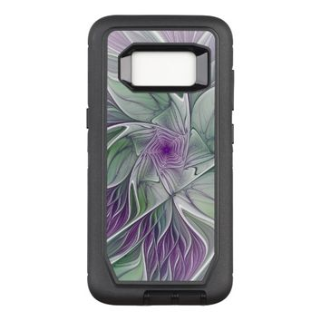 Flower Dream, Abstract Purple Green Fractal Art OtterBox Defender Samsung Galaxy S8 Case