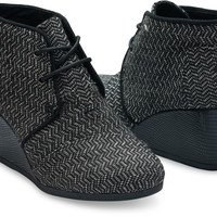 BLACK HERRINGBONE WOMEN'S DESERT WEDGES