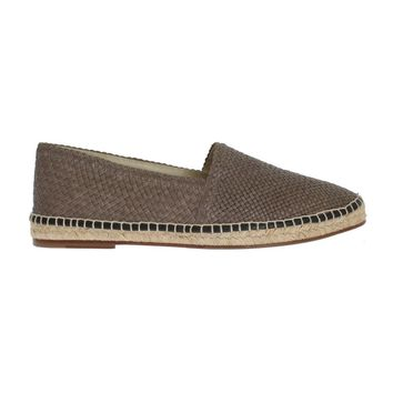 Dolce & Gabbana Gray Leather Woven Loafers Espadrilles