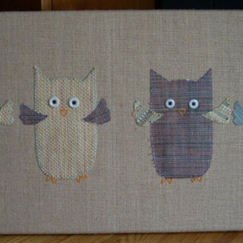 4 Pastel Owls Flying
