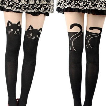 New Prevalent Cartoon Women Cat Tail Gipsy Mock Knee High Hosiery Pantyhose Tattoo Legging Tights EAS (Size: One Size)
