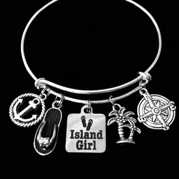 Island Girl Expandable Charm Bracelet Silver Adjustable Bangle One Size Fits All Gift Anchor Palm Tree Flip Flop Compass Rose