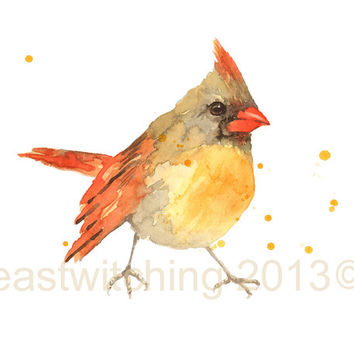 CARDINAL Art Print, cardinals, Bird Lover, Bird Keepsake, bird prints, fall colors, autumn finds, fall, orange
