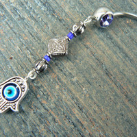 Purple hamsa hand belly ring protection hamsa hand fatima hand in belly dancer indie gypsy hippie morrocan boho and hipster style