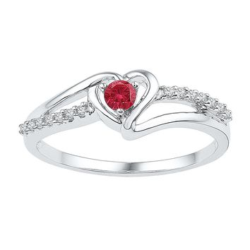 Sterling Silver Womens Round Lab-Created Ruby Solitaire Diamond Heart Ring 1/5 Cttw