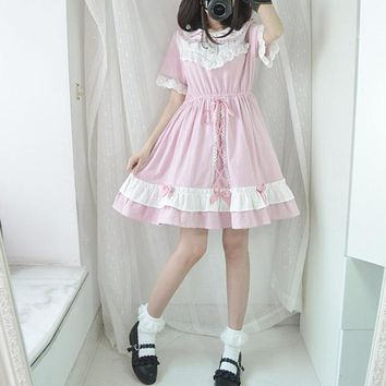 Japanese sweet lolita cute dress female 2018 summer fashion new women lace patchwork high waist short sleeve mini dress L780
