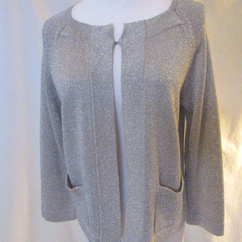 Talbots Silver Cardigan Sweater Women's Small Square Neck 3/4 Sleeves Pockets