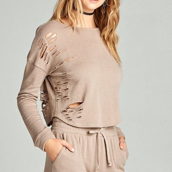 Distressed French Terry Sweater - Nude