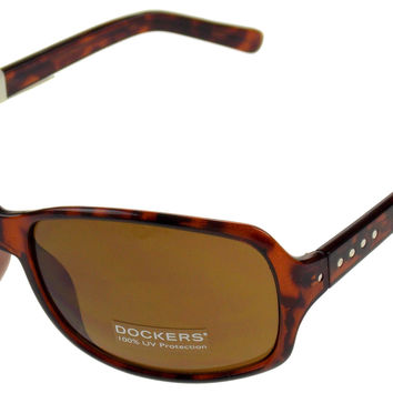 Levi Strauss DOCKERS Sunglasses 100%UV Rectangular Brown Plastic Large 63-16-135