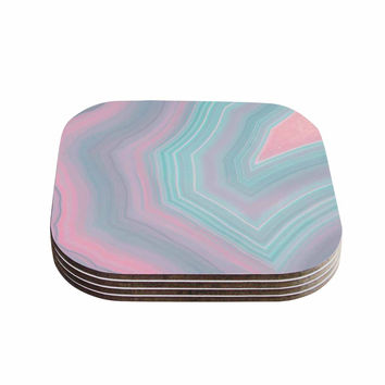 "Cafelab ""Sweet Pastel Agate"" Pink Blue Coasters (Set of 4)"