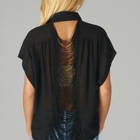 Black Asymmetrical Button Up Top with Fringe Back