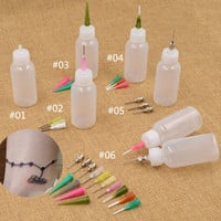 Tattoo Bottle Painting Henna Nozzle Applicator Drawing Bottle With Sealing Cap Makeup Body Paint Different Sizes Needles