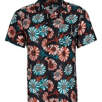 Black Sunflower Print Short Sleeve Casual Shirt - Latest Trend - New In