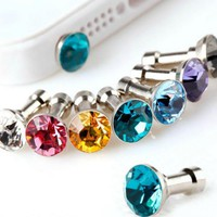 100pcs Dustproof plug Luxury Phone Accessories Small Diamond Rhinestone 3.5mm Dust Plug Earphone Plug