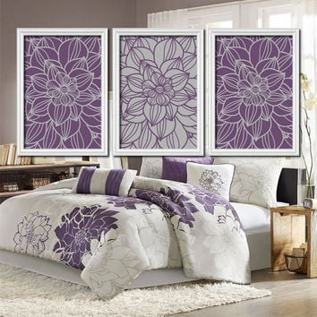 Purple Gray Bedroom Wall Art Bathroom Pictures Flower Dahlia