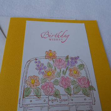 Hand stamped Birthday Wishes Basket of Flowers birthday card, yellow stamped birthday card with white envelope, female birthday card