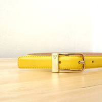 Vintage Yellow Leather Belt / Skinny Yellow Belt / 80s Belt / High Waisted Belt / Thin Leather Belt M
