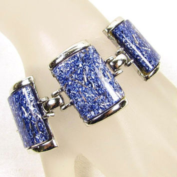 Blue Confetti Lucite Chunky Silver Tone Link Bracelet