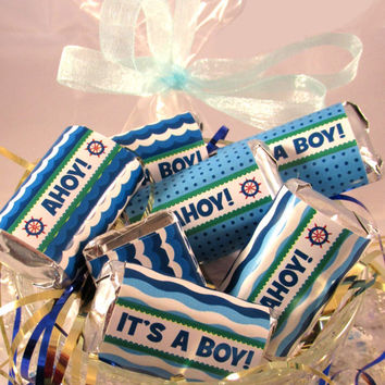 DIY PRINTABLE Ahoy It's A Boy Nautical Baby Shower Blue Candy Wrappers