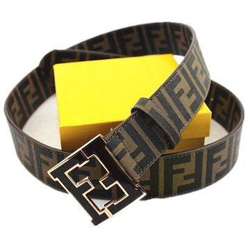 CHEN1ER Fendi Belt Mens Belt. Size 120(36-40). Brown with Black F Buckle