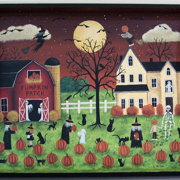 Halloween Folk Art Wooden Tray - READY TO SHIP  Hand painted Primitive Ooak Square Wood Serving Tray Pumpkin Patch Farm Witches Ghosts Cats