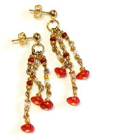 Triple Drop Beaded Post Earrings in Red - Handmade Red and Gold Chain link Beaded Earrings - Womens Jewelry