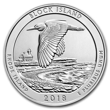 2018 5 oz Silver America the Beautiful Block Island National Wildlife Refuge, RI