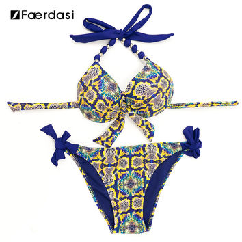 Faerdasi Halter Bikini Set Low Waist Bathing Suits Women Sexy Push Up Beachwear with Tie Side and Center Bow Swimwear Swimsuit
